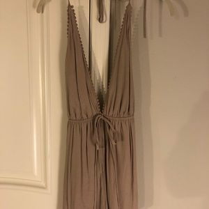 Kaitlyn Champagne Halter Backless Romper